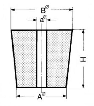 Slika za čep gumeni s dvije rupe 29x35x30