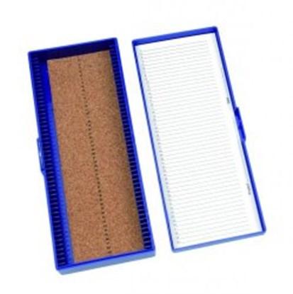 Slika za kutija za mikroskopska stakalca 50-mjesta plava