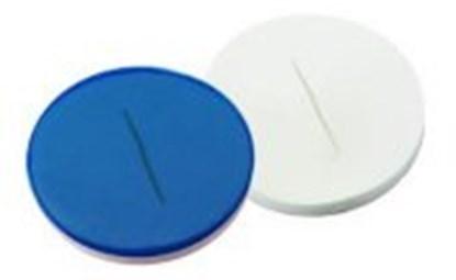 Slika za septe za čep za viale na navoj nd8 silikon bijeli/ptfe plavi prorez pk/100