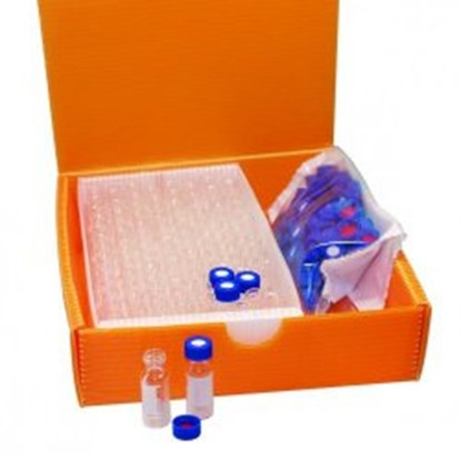 Slika za viali 2u1 kit staklo bijeli nd9 1,5ml+čep navoj plavi+silikon/ptfe prorez pk/100