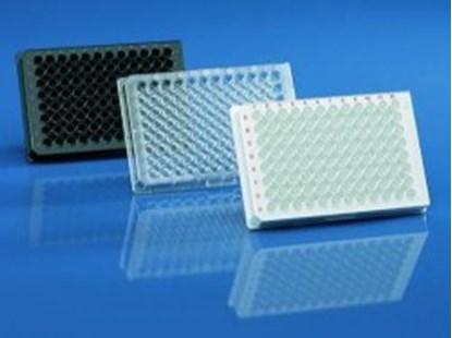 Slika za mikrotitar ploče ps 96 udubljenja ravno dno sterilne crno/bistre + pokl. pk/5