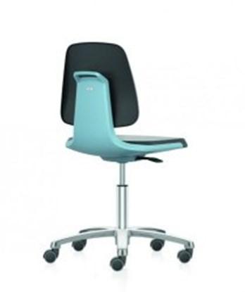 Slika za stolica lab umjetna koža podizanje 450-650mm plava s kotačima